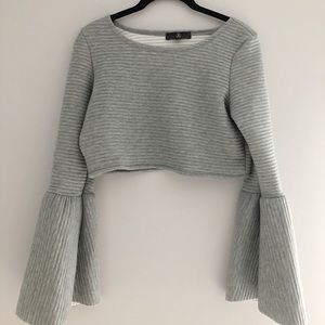 Ribbed Cropped Grey Shirt with Bell Sleeves